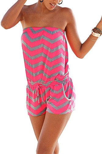 Hibluco Women's Sexy Off Shoulder Rompers Sleeveless Short Jumpsuits with Pockets (X-Large, Rose Red)