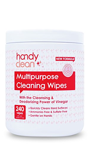HandyClean Multi-Purpose Cleaning Wipes (240Count) for hard surface – With cleaning & deodorizing power of Vinegar, natural and no harsh chemical, for family, office, store, school and more.