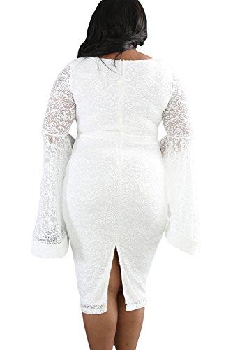 Nueva mujer Plus tamaño de encaje blanco vestido de manga Bell parte de fiesta Cruise vestido talla XL UK 14UE 42