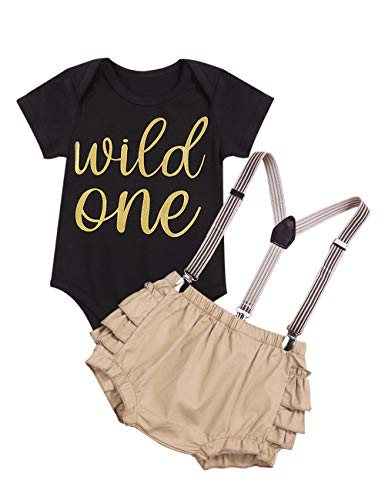 Baby Girls Wild One Printed Short-Sleeved Romper with Sling Short Skirt Outfit Sets(0-3m) Black