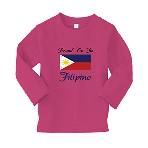 Proud To Be Filipino Philippines Flag Kid/Baby Long Sleeve Cotton T-Shirt Tee - 2T, Hot Pink, - Womens Hot Philippines