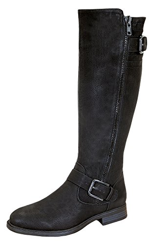 Pita-40 Women's Zipper Dressy Knee High Rider Boots with Buckle Accent Black 8.5