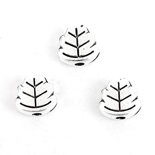 """PEPPERLONELY 100pc Antiqued Silver Alloy Leaf Charms Pendants 7 x7mm(2/8"""" x 2/8"""")"""