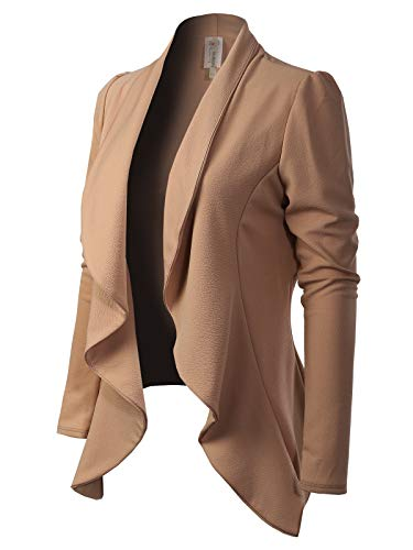 Womens Brown Tweed - MixMatchy Women's [Made in USA] Solid Formal Style Open Front Long Sleeves Blazer (S-3X) Mocha S
