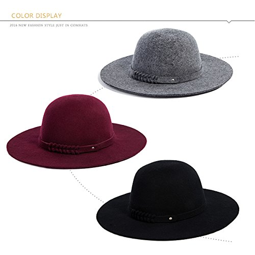 Siggi Woman 100% Wool Felt Top Hat Big Brim Winter Fedora Hats for Women Burgundy by SIGGI (Image #4)