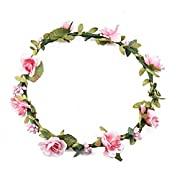 Floral Fall Boho Headband Flower Crown Festival Wedding Beach Hair Wreath F-01 (Pink)