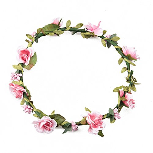 Floral Fall Boho Headband Flower Crown Festival Wedding Beach Hair Wreath F-01 (Pink)
