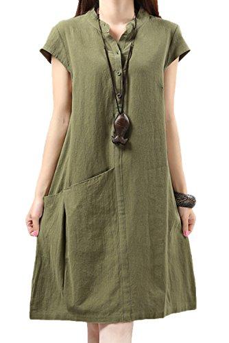 JOKHOO Women Summer Linen Short SleeveDaily Long (Johnny Special Occasion Dress)