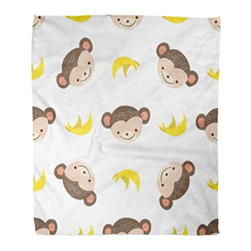 Golee Throw Blanket Animal Cute Monkey Bananas on Booklets Pattern Graphic Adorable Ape 60x80 Inches Warm Fuzzy Soft Blanket for Bed Sofa