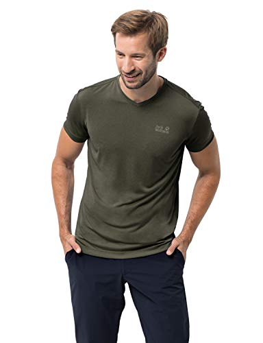 (Jack Wolfskin Men's Pack and Go T Men's Quick Drying Odor Inhibiting Travel T-Shirt, Woodland Green, X-Large)