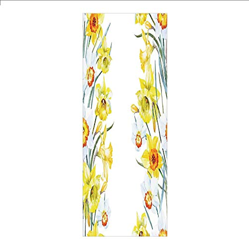 3D Decorative Film Privacy Window Film No Glue,Daffodil,Spring Flowers Composition Meditation for Blossoming Results Natural Print,Yellow White Red,for Home&Office - Stained Glass Daffodil