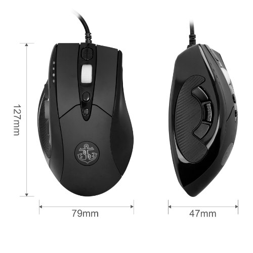 Anker® 8200 DPI High Precision Programmable Laser Gaming Mouse for PC, 9 Programmable Buttons, Weight Tuning Cartridges, Omron Micro Switches