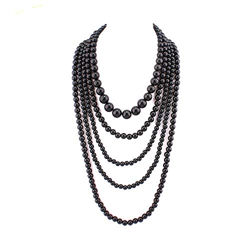 (GRACE JUN Multilayer Strand Chain Faux Pearls Flapper Beads Cluster Long Choker Necklace )