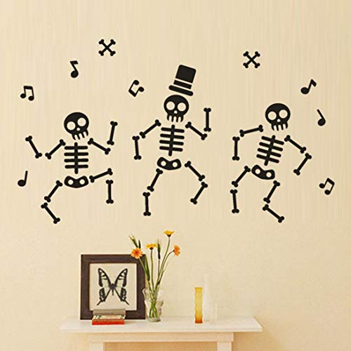 MIARHB Skeleton Wall Stickers Halloween Party Room Window Home Decor Wall Decals Art Background (23.6 × 13.7 Inch, A)