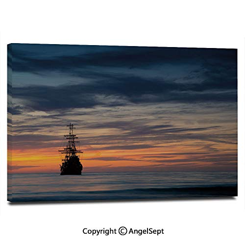 Modern Salon Theme Mural Old Sailboat in Majestic Sunset Scenery Tropical Waters Maritime Decorative Painting Canvas Wall Art for Home Decor 24x36inches, Dark Blue Salmon Black