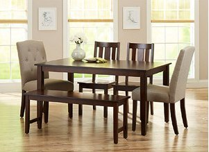 Better Homes and Gardens 6-Piece Dining Set, Mocha/Beige Better Homes and Gardens 6-Piece Dining Set, Mocha/Beige