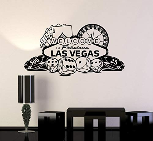 thirsto Removable Vinyl Decal Art Mural Home Decor Wall Stickers Welcome to Fabulous Las Vegas Casino Roulette Gambling Game