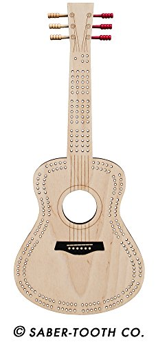 Guitar Cribbage Board - Acoustic Guitar Shape, 2 Track, Card Games