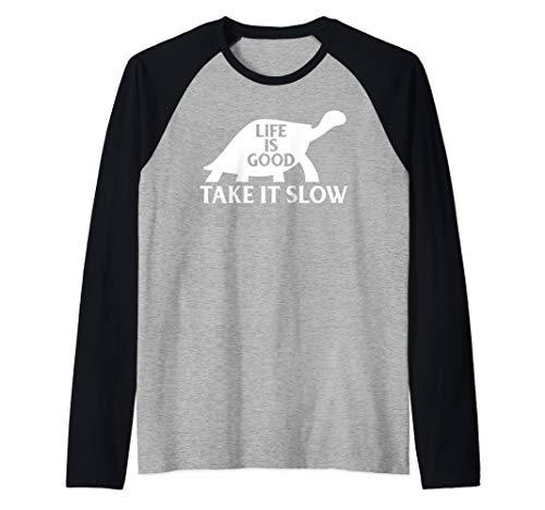 (Life Is Good Take It Slow Men Women Funny Turtle T-shirt Raglan Baseball Tee)