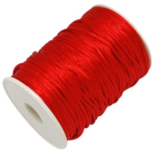 Angel Malone RED 10 Mtrs. X 2mm Premium Quality Kumihimo Rattail Satin Cord