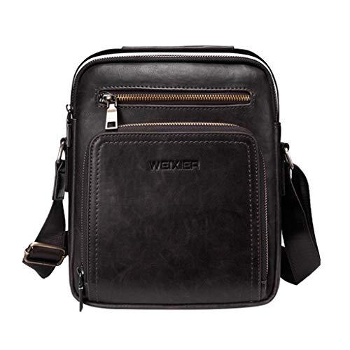 LEKODE Men Fashion Solid Color Shoulder Bag Leather Purses Vintage Handbags(Black)