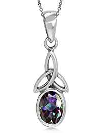 Natural Gemstone 925 Sterling Silver Triquetra Celtic Knot Pendant w/18 Inch Chain Necklace