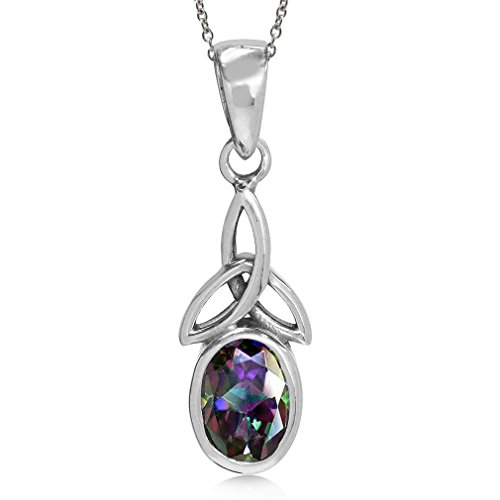 Mystic Fire Topaz 925 Sterling Silver Triquetra Celtic Knot Pendant w/ 18 Inch Chain Necklace