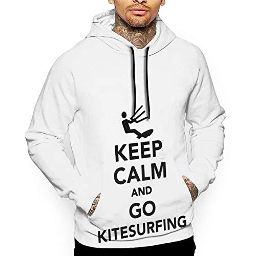 Kitesurfing Mens Hoodie - Men's Pullover Hooded Sweatshirt Go Kitesurfing Hoodies Cozy Drawstring Kangaroo Pockets