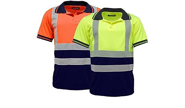 Hi Viz High Visibility Vis Polo Shirt T-Shirt Short Sleeve EN20471 Navy Collar