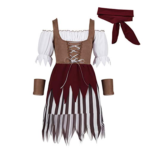 (moily Girls Pirate Buccaneer Costume Vintage Dress with Head Scarf Wristband Fancy Cosplay Caribbean Outfit Brown)