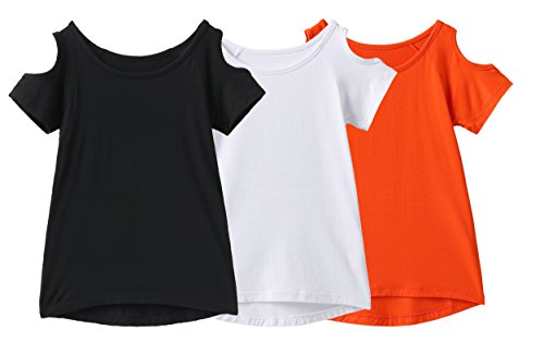 IRELIA 3 Pack Girls Crew Neck Tee Short Sleeve Shirts with Cold Shoulder BWO XL -