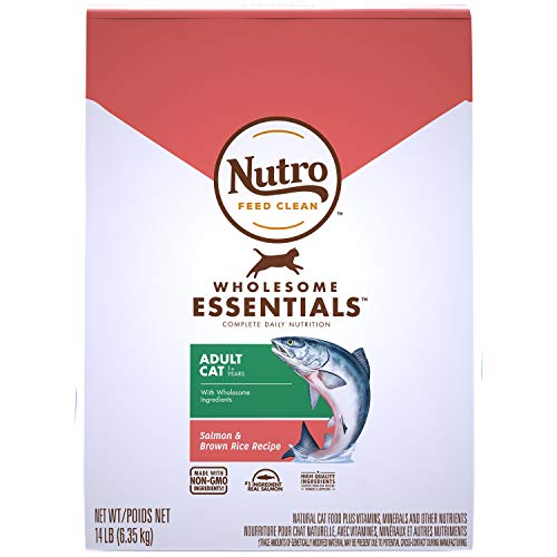 NUTRO WHOLESOME ESSENTIALS Natural Dry Cat Food, Adult Cat Salmon & Brown Rice Recipe, 14 lb. Bag