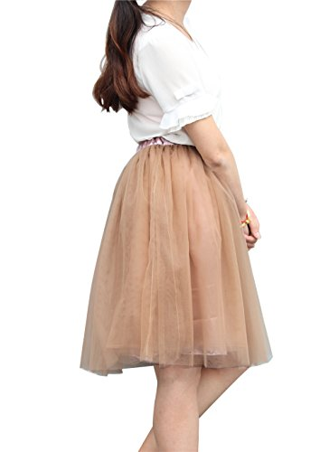 60cm Marron Elastic Couches Femme Ceinture Jupe CoutureBridal Princesse 5 Tulle Courte Tutu vFXqwY