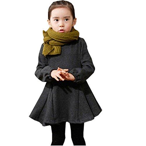 FAYALE Baby Girls' Winter Autumn Thicken Woolen Sweater Dresses (130/5-6Years, Gray)