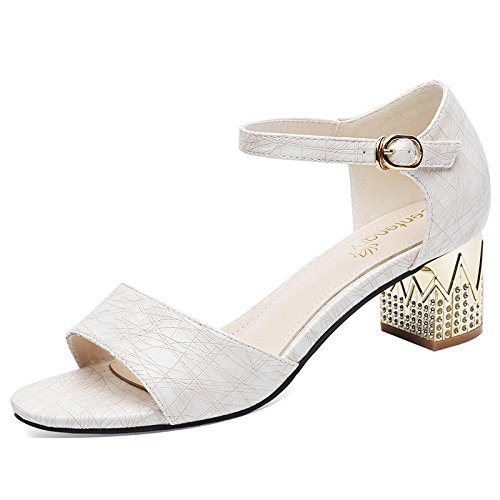 Comoda Boca Mujer Shallow Zapatos De white Dedos Tacon Solo Tacones De Zapatos Los KPHY Cm Alto De Sandalias Hebillas Gruesos Verano Pies 6 nwqZCgSpx