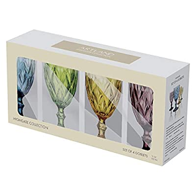 Artland Highgate 14 oz Assorted Colors Goblet in a Gift Box (Set of 4), Small, Glass