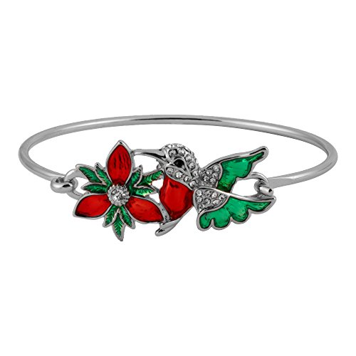 NOUMANDA Colourful Hummingbird Flower Adjustable Open Cuff Adjustable Wire Bangle Bracelet (Silver)