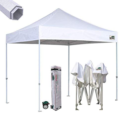Eurmax Premium 10x10 Ez Pop-up Canopy Tent Commercial Instant Shelter with Heavy Duty Wheeled Carry Bag (White)