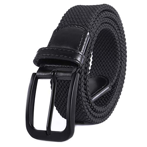 Weifert Belt for Men Braided Stretch Belt/No Holes Elastic Fabric Woven Belts (32-34