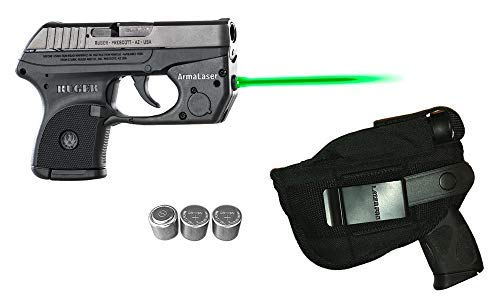 Laser Kit for Ruger LCP w/LASERPRO Holster, Touch-Activated ArmaLaser TR2-G Green Laser Sight & 2 Extra Batteries