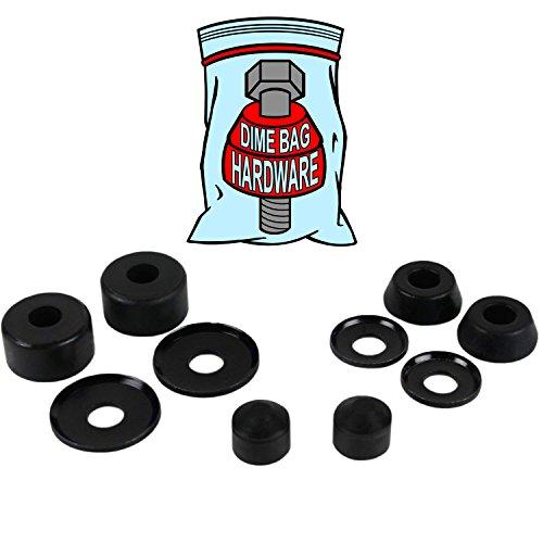 Dime Bag Hardware Skateboard Truck Rebuild Kit Bushings Washers Pivot Cups for 2 Trucks (98A Black)