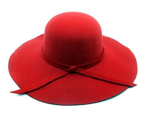 - Lanzom Summer Women's Vintage Fedoras Beach Sun Hat Lady Large Brim Bowknot Hat (Red)