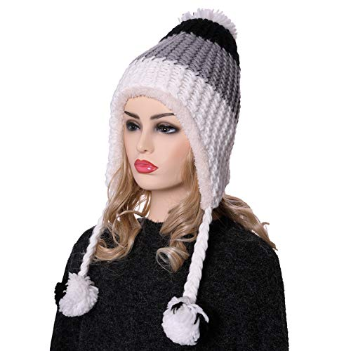(YEBING Womens Girls Super Thick Warm Soft Cable Earflap Beanie Hat Fleece Lined with Pom Pom and Braids (Black+Gray+White))