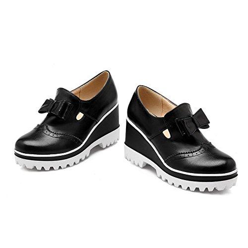 Pompe Punta Tonda Solidi talloni calzature Donne Nero Chiuso Weenfashion Materiale In Delle Alto Estraibili Morbido 7qAXH