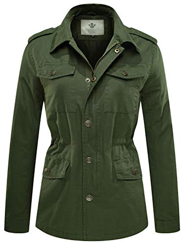 WenVen Women's Military Washed Twill Hooded Utility Jacket Outers(Army Green,M) ()