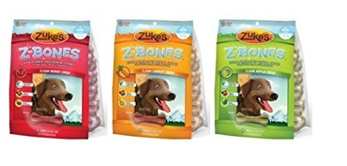 Zuke's Z-Bones Minis Edible Grain-Free Dental Chews 3 Flavor Variety Bundle: (1) Z-Bones Clean Apple Crisp, (1) Z-Bones Clean Carrot Crisp, and (1) Z-Bones Clean Berry Crisp, 8.25 Oz Ea (3 Bags Total) by Zuke's
