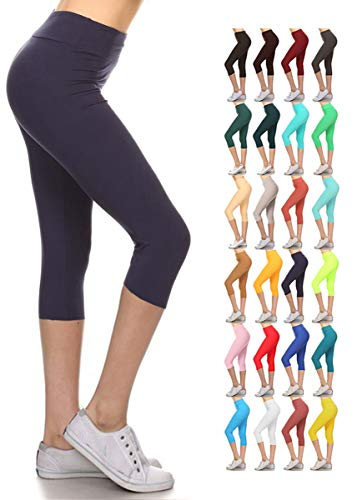 (LYCPEX128-NAVY Yoga Capri Solid Leggings, Extra Plus)