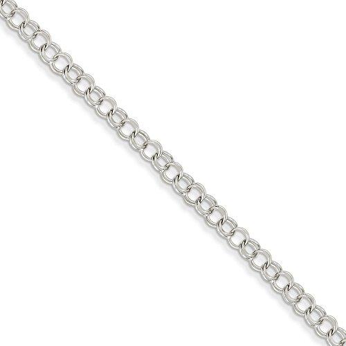 Jewelry Bracelets Charm Bracelets 14k White Gold Double Link Charm Bracelet ()