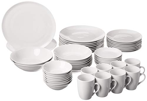 10 Strawberry Street SM-5200-CP-W 52 Pc Coupe Dinnerware Set, Service for 8, White
