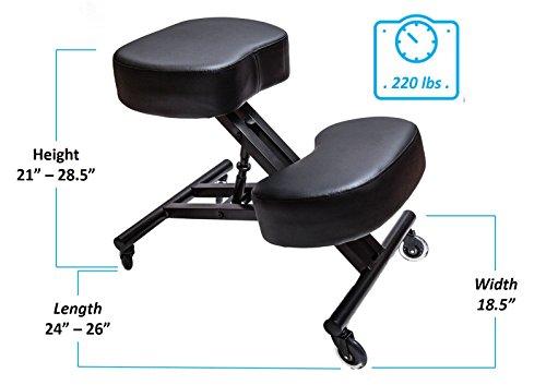 Sleekform Ergonomic Kneeling Chair M2 (Memory/Regular Foam), Adjustable Stool for Home, Office, and Meditation - Rollerblade Casters by Sleekform (Image #5)'